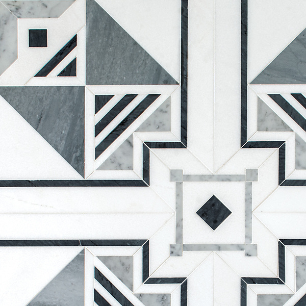 Jardin des Tuileries, a hand-cut mosaic, shown in polished Thassos, Bardiglio, and Carrara, is part of the Jardins Français collection by Caroline Beaupere for New Ravenna.