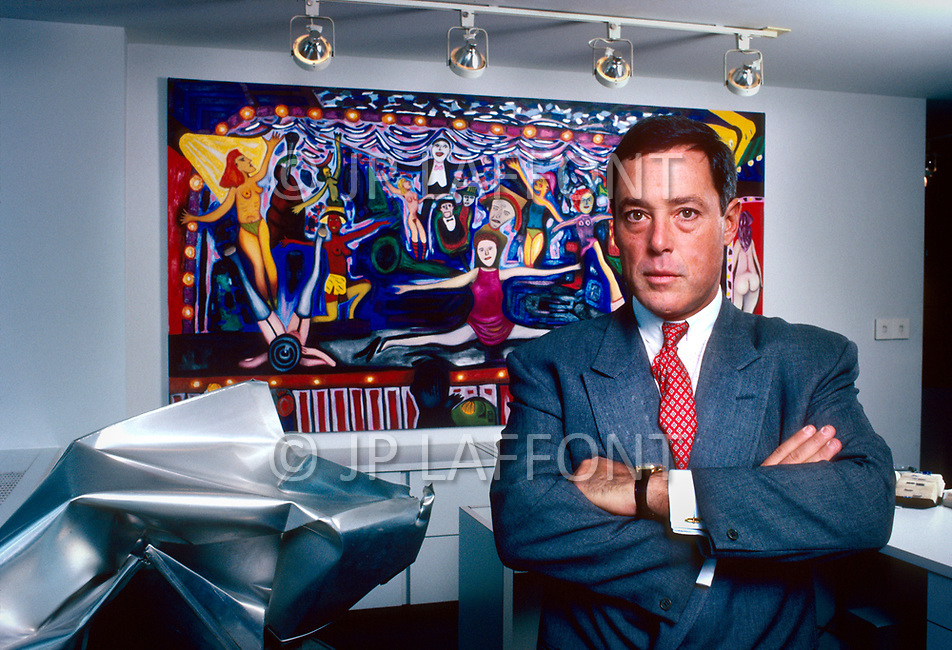 New York City, NY, USA, February 27, 1987 - American financier and art collector Asher Edelman poses with some of his collection in his office on 5th Avenue.