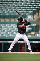 GCL Orioles center fielder Markel Jones (30) at bat during the first game of a doubleheader against the GCL Twins on August 1, 2018 at CenturyLink Sports Complex Fields in Fort Myers, Florida.  GCL Twins defeated GCL Orioles 7-6 in the completion of a suspended game originally started on July 31st, 2018.  (Mike Janes/Four Seam Images)