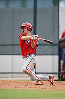 Philadelphia Phillies Luke Williams (12) follows through on a swing during an Instructional League game against the Toronto Blue Jays on September 30, 2017 at the Carpenter Complex in Clearwater, Florida.  (Mike Janes/Four Seam Images)