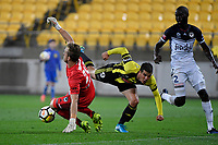 Wellington Phoenix&rsquo; Andrija Kaluderovic and Melbourne Victory&rsquo;s Lawrence Thomas in action during the A League - Wellington Phoenix v Melbourne Victory FC at Westpac Stadium, Wellington, New Zealand on Wednesday 10 January 2018. <br /> Photo by Masanori Udagawa. <br /> www.photowellington.photoshelter.com