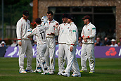 June 12th 2017, Trafalgar Road Ground, Southport, England; Specsavers County Championship Division One; Day Four; Lancashire versus Middlesex; Ryan McLaren is congratulated by his team mates after making an early breakthrough on the final day having Harris caught behind as Middlesex fall to 169-7; Middlesex were 27 runs ahead at the start of the day with four second innings wickets remaining