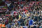 Atletico's fans celebrate at the final whistle during the Champions League Quarter-Final 2nd leg match at the King Power Stadium, Leicester. Picture date: April 18th, 2017. Pic credit should read: David Klein/Sportimage