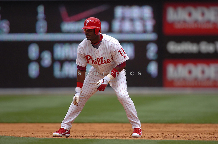 Jimmy Rollins, of the Philadelphia Phillies , during thier game against the Boston Red Sox  on May 22, 2006 in Philadelphia...Phillies win 10-5..Tomasso DeRosa / SportPics