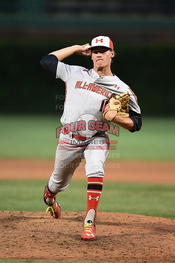 Cole Sands (10) of North Florida Christian High School in Tallahassee, Florida during the Under Armour All-American Game on August 16, 2014 at Wrigley Field in Chicago, Illinois.  (Mike Janes/Four Seam Images)
