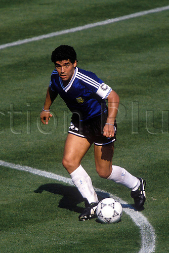 30.06.1990 Rome, Italy ..Argentina's Diego Maradona in action during the  quarter final v the Republic of Ireland in the Stadio Olimpico, Rome...Argentina won the game 1-0