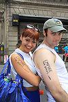 Empire The Series, the Internet's Hottest Soap Opera Returns This Summer 2012 for its 4th season - Sex.Scandal.Soap. - As The World Turns' cast member Lauren B. Martin poses with cast member Ryan Clardy of Empire The Series as they march in the NYC Gay Pride Parade 2012 on June 24, 2012 from Fifth Avenue and 38 to the Village, New York City, New York. Check them out at Empiretheseries.com (Photo by Sue Coflin/Max Photos)