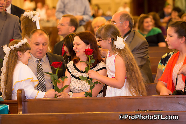 1st Communion ceremony at St. Agatha Polish Church in St. Louis, MO on May 11, 2014.