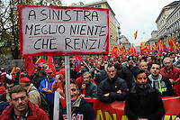 Milano 14-11-2014 manifestazione per sciopero generale Fiom Cgil <br /> General strike Demonstration against the government's economic policy in Milano <br /> foto Andrea Ninni/Image/Insidefoto