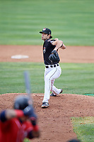 Erie SeaWolves relief pitcher Adam Ravenelle (12) delivers a pitch during a game against the New Hampshire Fisher Cats on June 20, 2018 at UPMC Park in Erie, Pennsylvania.  New Hampshire defeated Erie 10-9.  (Mike Janes/Four Seam Images)