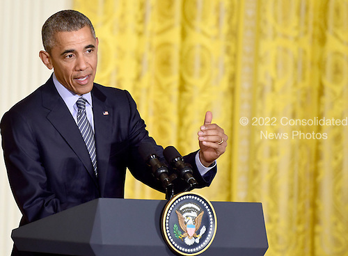 United States President Barack Obama holds a joint press conference with President Dilma Rousseff of Brazil (not pictured) in the East Room of the White House in Washington, D.C. on Tuesday, June 30, 2015.<br /> Credit: Ron Sachs / CNP