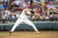 Florida State Seminoles pitcher Josh Scolaro (13) delivers a pitch to the plate against the Michigan Wolverines in Game 6 of the NCAA College World Series on June 17, 2019 at TD Ameritrade Park in Omaha, Nebraska. Michigan defeated Florida State 2-0. (Andrew Woolley/Four Seam Images)