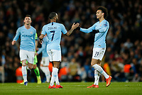 Raheem Sterling of Manchester City celebrates with Leroy Sane of Manchester City after scoring his side's fourth goal to make the score 4-0 during the UEFA Champions League Round of 16 second leg match between Manchester City and Schalke 04 at the Etihad Stadium on March 12th 2019 in Manchester, England. (Photo by Daniel Chesterton/phcimages/Insidefoto)