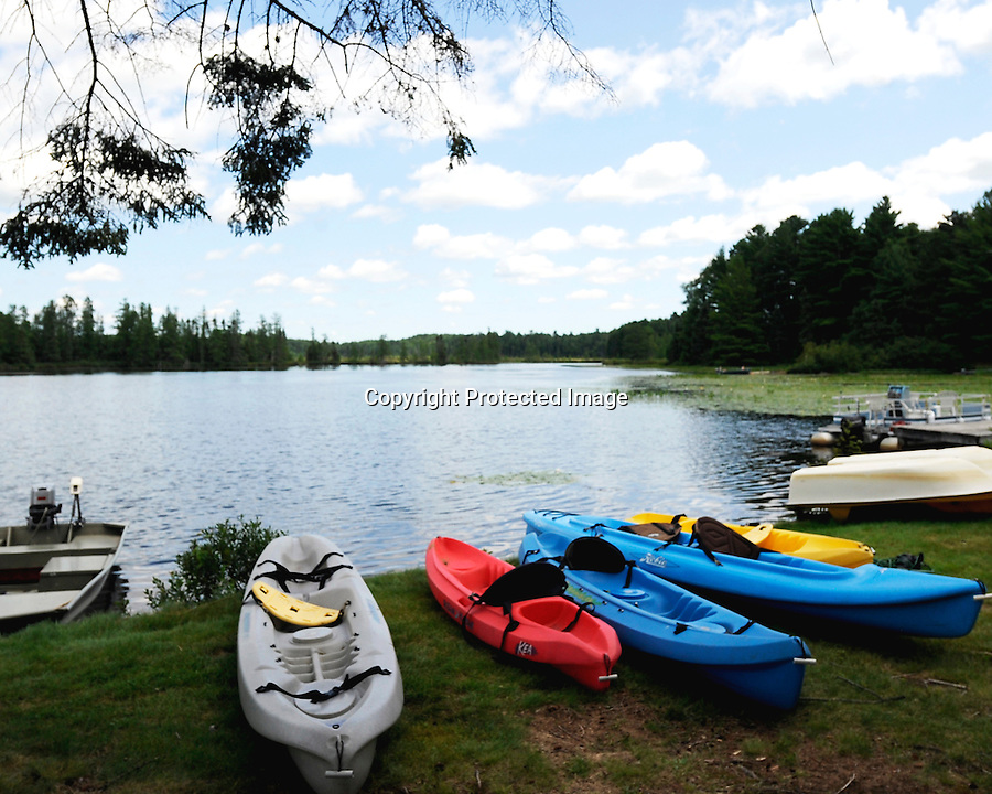 Typical lake scene in northern Wisconsin or northern Minnesota. Kayaking, boating, fishing, swimming are all popular sports, as well as wildlife viewing.