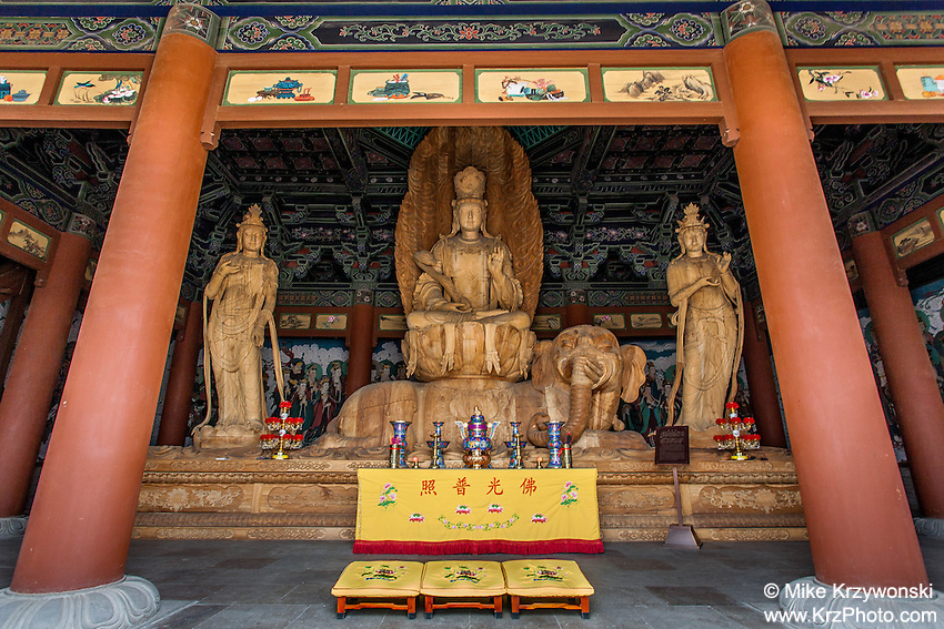 Wooden carvings inside a temple at the Huayan Monastery, Datong, China