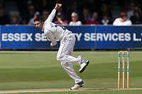 Keshav Maharaj in bowling action for Yorkshire during Essex CCC vs Yorkshire CCC, Specsavers County Championship Division 1 Cricket at The Cloudfm County Ground on 7th July 2019