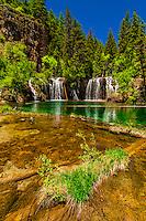 Huge waterfalls during runoff from snowmelt, Bridal Veil Falls, Hanging Lake, Glenwood Canyon, near Glenwood Springs, Colorado USA.