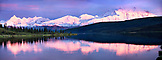 USA, Alaska, view of the Mount McKinley and the Denali Range with Mirror Lake, Denali National Park