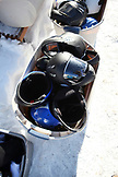 USA, Utah, Park City, a bucket of training helments and arm pads for the luge, Utah Olympic Park