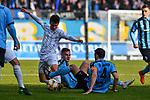 16.02.2020, Carl-Benz-Stadion, Mannheim, GER, 3. Liga, SV Waldhof Mannheim vs. FC Carl Zeiss Jena, <br /> <br /> DFL REGULATIONS PROHIBIT ANY USE OF PHOTOGRAPHS AS IMAGE SEQUENCES AND/OR QUASI-VIDEO.<br /> <br /> im Bild: Jannis Kuebler (FC Carl Zeiss Jena #8) gegen Max Christiansen (SV Waldhof Mannheim #13) und Kevin Conrad (SV Waldhof Mannheim #4)<br /> <br /> Foto © nordphoto / Fabisch