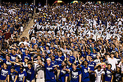 September 6, 2008. Durham, NC..  College football in the Triangle..Duke University lost a home game 20- 24 to Northwestern..Student fans led chants from the stands in support of their team.