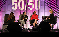 LOS ANGELES, CA - NOVEMBER 1: Danielle Haim, Este Haim, Alana Haim, Of The Music Group Haim, Sharon Waxman, at TheWrap&rsquo;s  Power Women&rsquo;s Summit - Inside at the InterContinental Hotel in Los Angeles, California on November 1, 2018.   <br /> CAP/MPI/FS<br /> &copy;FS/MPI/Capital Pictures