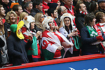 Patriotic Welsh rugby fans<br /> RBS 6 Nations<br /> Wales v Ireland<br /> Millennium Stadium<br /> 14.03.15<br /> &copy;Steve Pope - SPORTINGWALES