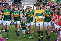 2-7-2017: Fionn Fitzgerald leads out the Kerry  team for the  Kerry V Cork Munster Football final in Killarney on Sunday.<br /> Photo: Don MacMonagle