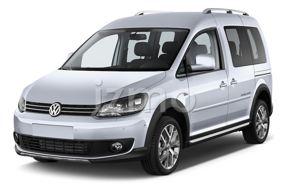 2013 Volkswagen Caddy Cross 5 Door Mini MPV 2WD Angular Front stock photos of front three quarter view