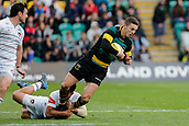 9th September 2017, Franklins Gardens, Northampton, England; Aviva Premiership Rugby, Northampton Saints versus Leicester Tigers; George North of Northampton Saints is tackled by Matt Toomua of Leicester Tigers