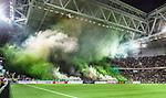 Stockholm 2014-09-28 Fotboll Superettan Hammarby IF - IK Sirius :  <br /> Hammarbys supportrar r&ouml;k och r&ouml;kbomber inf&ouml;r den andra halvleken i matchen mellan Hammarby och Sirius <br /> (Foto: Kenta J&ouml;nsson) Nyckelord:  Superettan Tele2 Arena Hammarby HIF Bajen Sirius IKS supporter fans publik supporters r&ouml;k bengaler bengaliska eldar eld r&ouml;kbomb r&ouml;kbomder inomhus interi&ouml;r interior