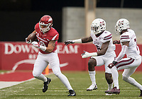 Hawgs Illustrated/BEN GOFF <br /> Jeremy Patton, Arkansas tight end, runs out of bounds as Willie Gay (6), Mississippi State linebacker, and Tolando Cleveland (7), Mississippi State cornerback, give chase after a catch in the second quarter Saturday, Nov. 18, 2017, at Reynolds Razorback Stadium in Fayetteville.