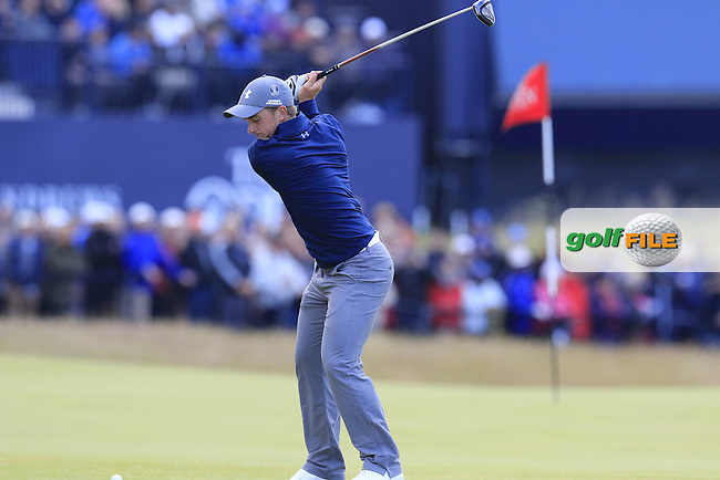 Paul DUNNE (AM)(IRL) tees off the 18th tee during Sunday's Round 3 of the 144th Open Championship, St Andrews Old Course, St Andrews, Fife, Scotland. 19/07/2015.<br /> Picture Eoin Clarke, www.golffile.ie