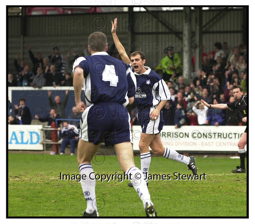 29th April 200         Copyright Pic : James Stewart .Ref :                           .File Name : stewart03-falkirk v inverness                        .FALKIRK'S IVO DEN BIEMAN (4) RUNS TO CONGRATULATE JAMIE MCQUILKEN AFTER HE SCORED FALKIRK'S FIRST GOAL.... .Payments to :-.James Stewart Photo Agency, Stewart House, Stewart Road, Falkirk. FK2 7AS      Vat Reg No. 607 6932 25.Office : +44 (0) 1324 630007        Mobile : 07721 416997.Fax     : +44 (0) 1324 630007.E-mail : jim@jspa.co.uk.If you require further information then contact Jim Stewart on any of the numbers above.........