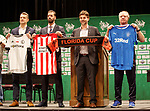 Jimmy Nicholl with Ruud van Nistelroy and represenatives of the other teams at the launch of the Florida Cup in Orlando