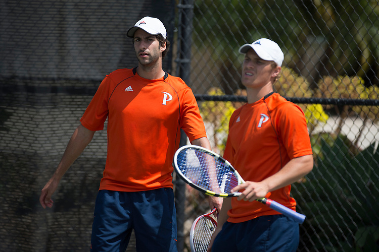 April 27, 2013; San Diego, CA, USA; Pepperdine Waves players Alex Sarkissian (left) and Finn Tearney (right) during the WCC Tennis Championships at Barnes Tennis Center.