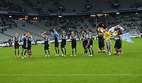 Fussball 2. Bundesliga:  Saison   2012/2013,    4. Spieltag  TSV 1860 Muenchen - MSV Duisburg    31.08.2012 Das Team von 1860 feiert den Sieg  in der Allianz Arena