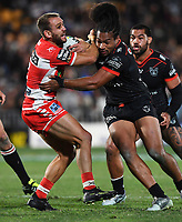Jason Nightingale and Bunty Afoa.<br /> NRL Premiership rugby league. Vodafone Warriors v St George Illawarra. Mt Smart Stadium, Auckland, New Zealand. Friday 20 April 2018. &copy; Copyright photo: Andrew Cornaga / www.Photosport.nz