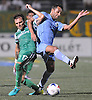 Ayoze Perez #17 of the New York Cosmos, left, and Ibson #7 (single name) of the Minnesota United get tangled during a battle for possession in the second half of a NASL match at Hofstra University on Saturday, Sept. 10, 2016. The Cosmos won by a score of 1-0.