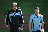 All Blacks skills coach Mick Byrne and Dan Carter. All Blacks Training Session at Rugby League Park, Newtown, Wellington. Thursday 17 September 2009. Photo: Dave Lintott/lintottphoto.co.nz