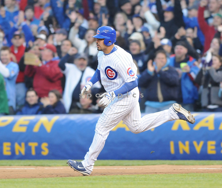GEOVANY SOTO, of the Chicago Cubs , in action against the Milwaukee Brewers during the their  game in Chicago, IL on April 30, 2008. The Cubs  won the game 19-5.