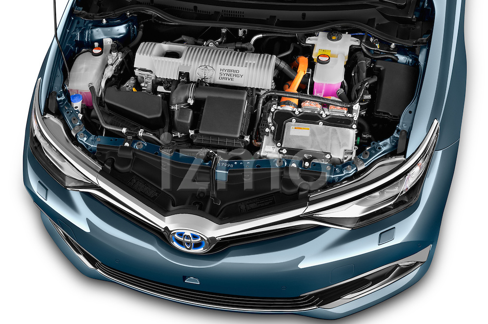 Car Stock 2015 Toyota Auris Lounge 5 Door Hatchback Engine high angle detail view