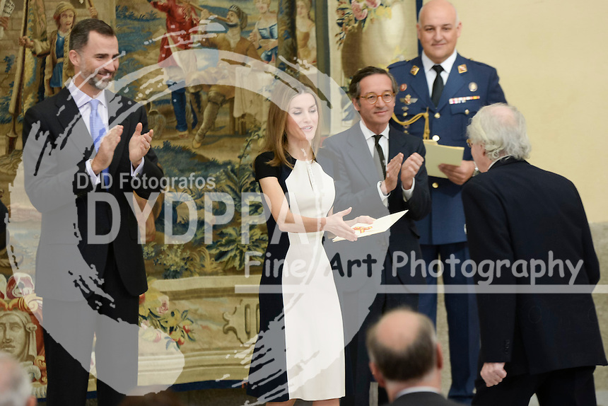 The Kings of Spain, Felipe and Letizia, attend the delivery of the National Culture awards at the Palace of El Pardo, Madrid, Spain. February 16, 2015. In the image: King Felipe and Queen Letizia.  (C) Ivan L. Naughty / DyD Fotografos
