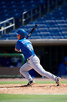 Toronto Blue Jays Cal Stevenson (18) follows through on a swing during a Florida Instructional League game against the Philadelphia Phillies on September 24, 2018 at Spectrum Field in Clearwater, Florida.  (Mike Janes/Four Seam Images)