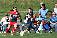 Piscataway, NJ, April 24, 2016.  Midfielder Diana Matheson (8) of the Washington Spirit dribbles in front of Sky Blue defender Maya Hayes (5). The Washington Spirit defeated Sky Blue FC 2-1 during a National Women's Soccer League (NWSL) match at Yurcak Field.