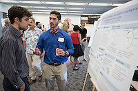 "Bruno Alonso '17 discusses ""Characterizing the Function of the E2 ubiquitin-conjugating enzyme UBC-1 in the C. elegans nervous system""<br /> Occidental College's Undergraduate Research Center hosts their annual Summer Research Conference on Aug. 4, 2016. Student researchers presented their work as either oral or poster presentations at the final conference. The program lasts 10 weeks and involves independent research in all departments.<br /> (Photo by Marc Campos, Occidental College Photographer)"