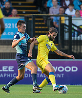 George Francomb of AFC Wimbledon and Luke O'Nien of Wycombe Wanderers during the Friendly match between Wycombe Wanderers and AFC Wimbledon at Adams Park, High Wycombe, England on 25 July 2017. Photo by Andy Rowland.