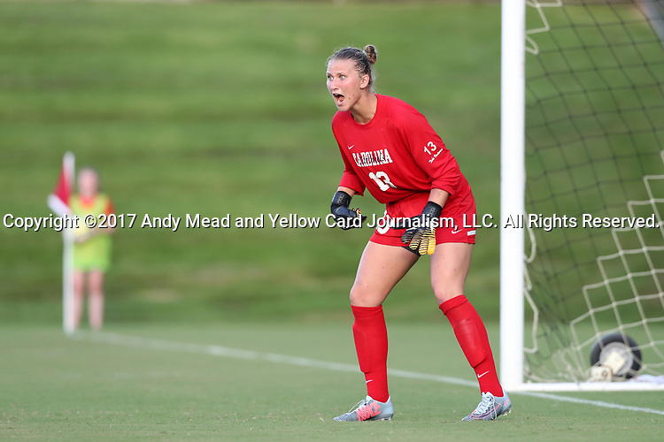 CARY, NC - AUGUST 18: North Carolina's Samantha Leshnak. The University of North Carolina Tar Heels hosted the Duke University Blue Devils on August 18, 2017, at Koka Booth Stadium in Cary, NC in a Division I college soccer game.