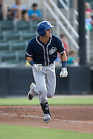 Dom Nunez (9) of the Asheville Tourists hustles down the first base line against the Kannapolis Intimidators at Intimidators Stadium on June 25, 2015 in Kannapolis, North Carolina.  The Intimidators defeated the Tourists 9-8.  (Brian Westerholt/Four Seam Images)