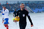 Referee Sebastian Stockridge, checking that the touchlines are visible. Oldham v Portsmouth League 1